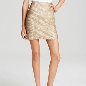 Joie Bricia Antique Gold Beaded Mini Skirt